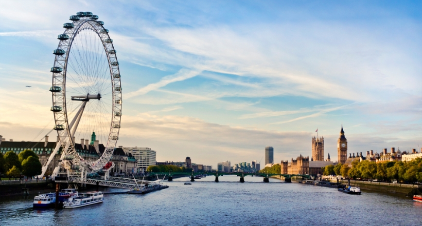 """""""London, England -October 22, 2010: Morning image of London. Includes the London eye, County Hall, Westminster Bridge, Big Ben and Houses of Parliament."""""""