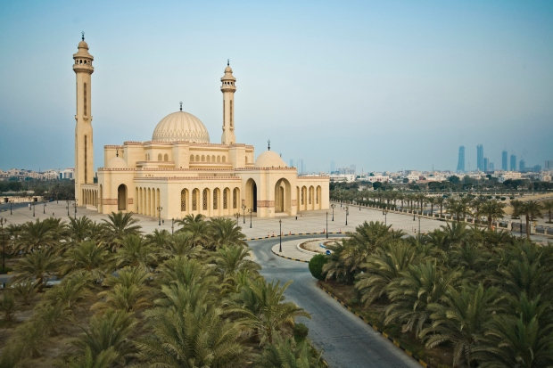 The Al Fateh Grand Mosque is built with marble from Italy, glass from Austria and teak wood from India.