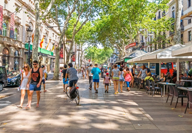 is LThe La Rambla is a mile-long pedestrian boulevard lined with trees on both sides.